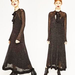 Zara Metallic Casual Maxi Dress Sheer Knit Small